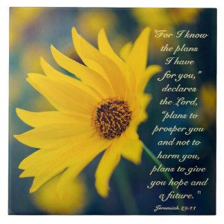Bible Verse Jeremiah 29:11, Yellow Wildflower Tile