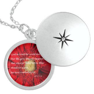 Bible Verse John 3:16 Over a Flower Jewelry Neckl
