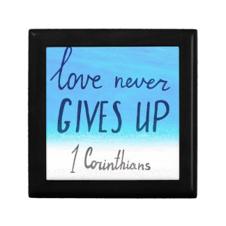 Bible verse love never gives up gift box