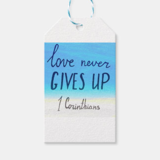 Bible verse love never gives up gift tags
