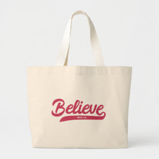 Bible Verse Mark 5:36 in stylish typography Large Tote Bag