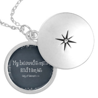 Bible Verse : My Beloved is Mine and I am His Silver Plated Necklace