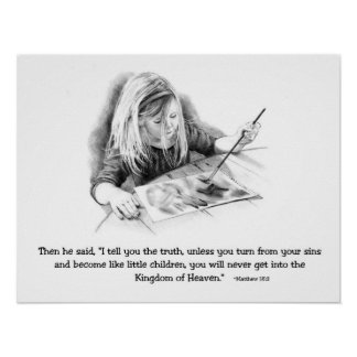 Bible Verse: Pencil Drawing Of Small Girl Painting Poster