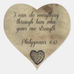 Bible Verse Philippians 4:13 Heart Sticker