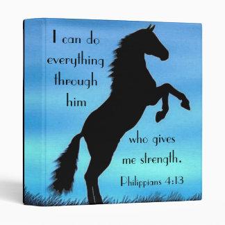 Bible verse Philippians 4:13 Horse Vinyl Binder