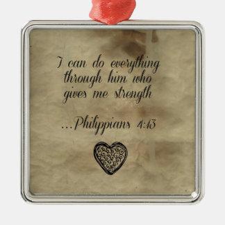 Bible Verse Philippians 4:13 Metal Ornament