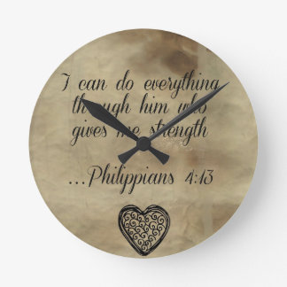 Bible Verse Philippians 4:13 Wall Clocks