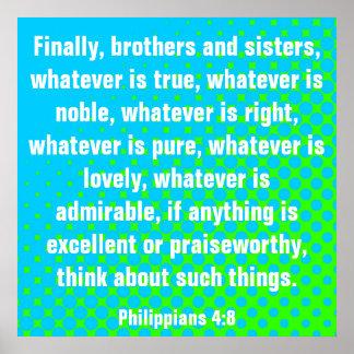 Bible verse Philippians 4:8 Poster