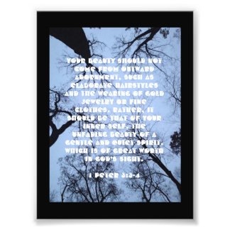 Bible Verse Poster about Beauty (1 Peter 3: 3-4)