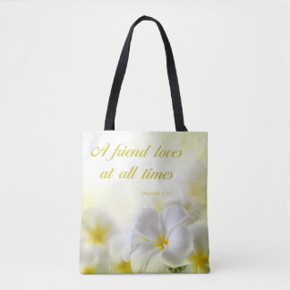 Bible Verse | Proverbs 17:17 | Yellow Floral Tote Bag
