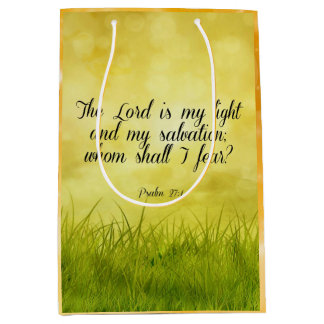 Bible verse, Psalm 27:1 Medium Gift Bag