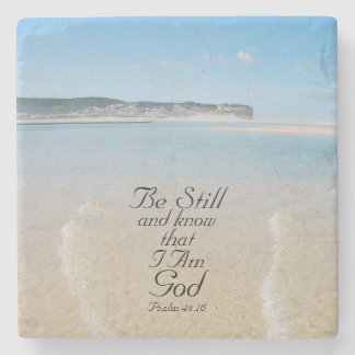 Bible Verse Psalm 46:10 Ocean View Stone Coaster