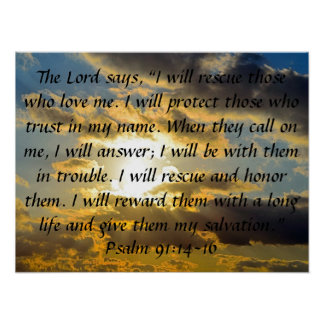 bible verse psalm 91:14-16 posters
