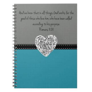 Bible Verse Romans 8:28 Retro Notebooks