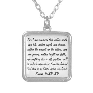 bible verse Romans 8:38-39 Silver Plated Necklace