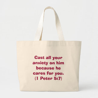 Bible Verse Series - Cast all your anxiety on him  Large Tote Bag