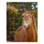 Bible Verse Smiling Chestnut Horse Poster