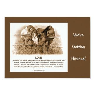 BIBLE VERSE: WEDDING INVITE: HORSES, PENCIL CARD