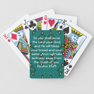 Bible Verses Healing Scripture Quote Exodus 23:25 Playing Cards