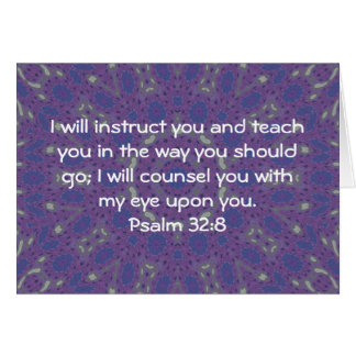 Bible Verses Inspirational Quote Psalm 32:8 Card
