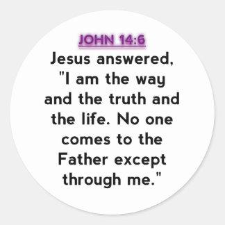 Bible Verses - John 14:6 Classic Round Sticker