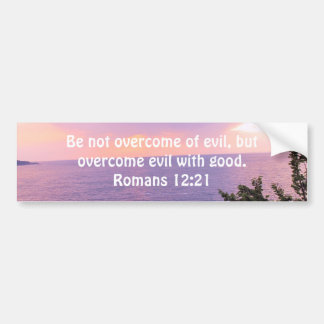 Bible Verses Love Quote Saying Romans 12:21 Bumper Sticker