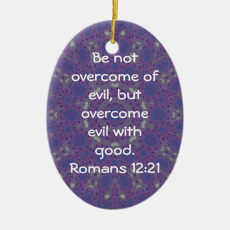 Bible Verses Love Quote Saying Romans 12:21 Double-Sided Oval Ceramic Christmas Ornament