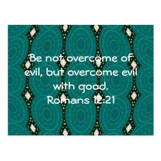 Bible Verses Love Quote Saying Romans 12:21 Postcard