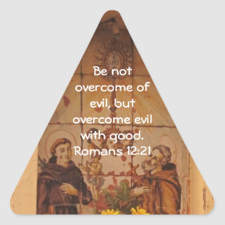Bible Verses Love Quote Saying Romans 12:21 Triangle Sticker