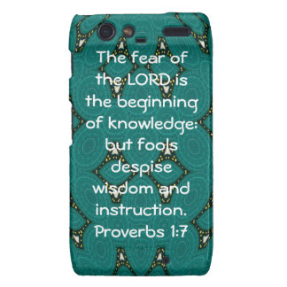 Bible Verses Wisdom Quote Saying Proverbs 1:7 Droid RAZR Cover