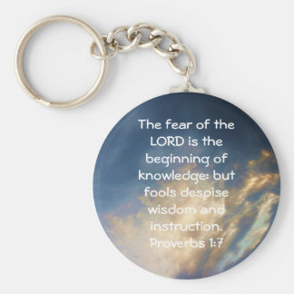 Bible Verses Wisdom Quote Saying Proverbs 1:7 Keychain