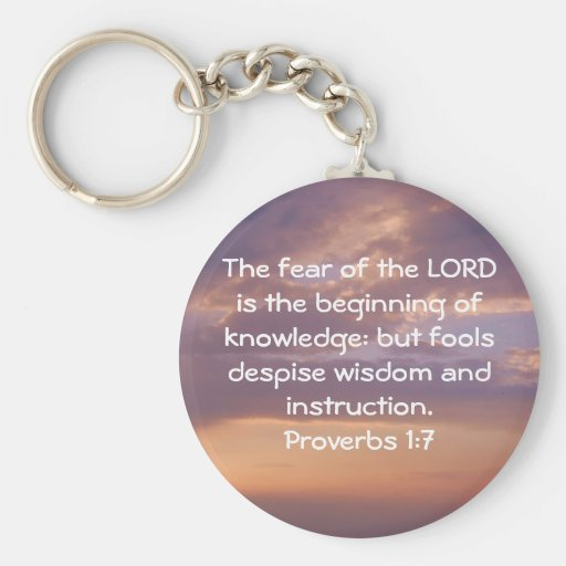 Bible Verses Wisdom Quote Saying Proverbs 1:7 Keychains