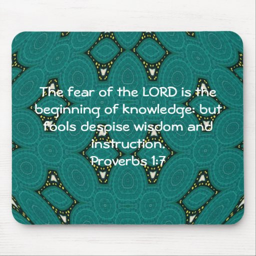 Bible Verses Wisdom Quote Saying Proverbs 1:7 Mouse Pads