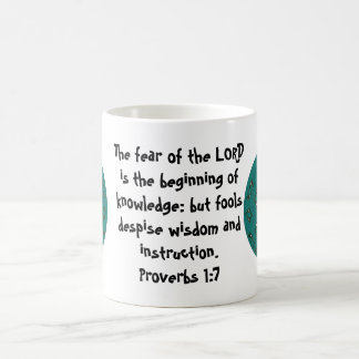 Bible Verses Wisdom Quote Saying Proverbs 1:7 Basic White Mug