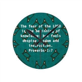 Bible Verses Wisdom Quote Saying Proverbs 1:7 Wallclock