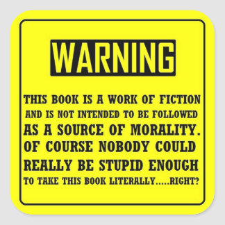 Bible Warning Label Square Sticker