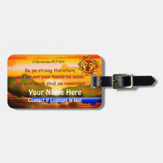 Biblical Scripture with Celestial Sun & Background Luggage Tag