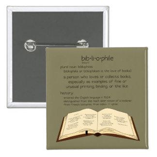 Bibliophile 2 Inch Square Button