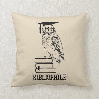 Bibliophile Owl Book Lover Throw Pillow