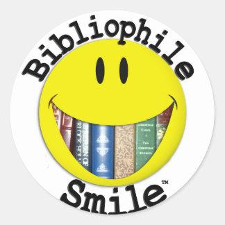 Bibliophile Smile Classic Round Sticker