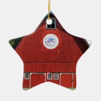 Bicentennial Barn III Ceramic Star Ornament