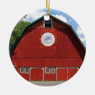 Bicentennial Barn III Round Ceramic Ornament