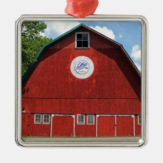 Bicentennial Barn III Silver-Colored Square Ornament