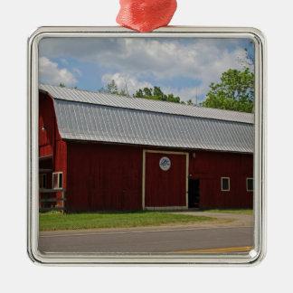 Bicentennial Barn IV Silver-Colored Square Ornament