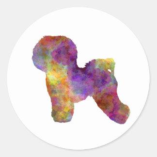 Bichon Anti-yaw in watercolor Round Sticker