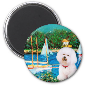 Bichon Frise 1 - Sailboats 1 2 Inch Round Magnet