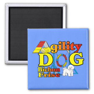 Bichon Frise Agility Gifts Square Magnet