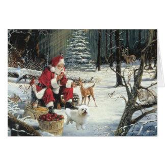 Bichon Frise Christmas Card Santa Woods