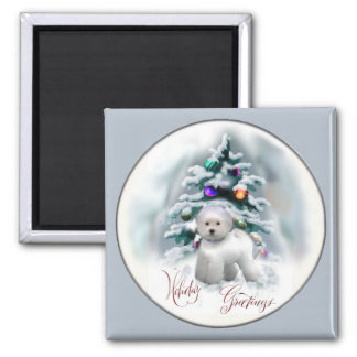 Bichon Frise Christmas Gifts Square Magnet