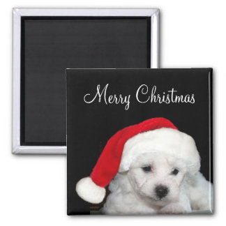 Bichon Frise Christmas Square Magnet